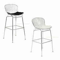 "Chrome Steel Wire Mesh Harry Bar Stool 30"" Hgt Blk White Pad Mid-Century"