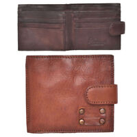 Super Soft Mens Real Genuine Thick Vintage Crinkle Leather Bifold Wallet Tan