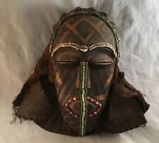 Antique Carved African Kuba Tribal Mask Helmet Beaded Shell Decorated Congo
