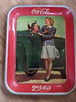 Vintage 1942 Coca-Cola Coke Advertising Tray W/Girls At Car