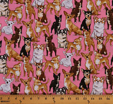 Cotton Chihuahua Dogs Animal Cotton Fabric Print by the Yard D478.15