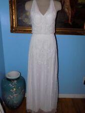 Candela White Beaded Halter Gown