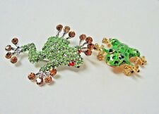 new Lot 2 green Frog pin brooches crystal enamel