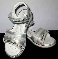 GEOX Shoes Respira Saldal J S Juice Z Geobuck Pat Silver Metalics Size 10 1/2