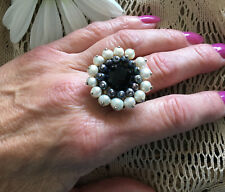 CGI CN .925 Sterling Silver Black Crystal and Baroque Pearls Statement Ring Sz 9
