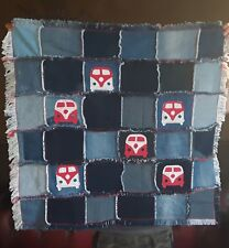 Patchwork Camper Van Style Denim Blanket, Double Sided Throw,  Rug, Dog Blanket,