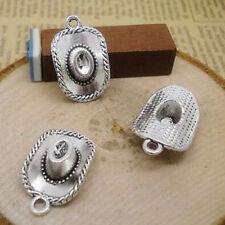 Wholesale 8pcs Tibet Silver Cowboy Hat Charm Pendant Beaded Jewelry Diy 79