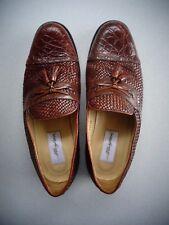 Mezlan Genuine Crocodile & Woven Brown Leather Tassel Loafers ~ Size 10.5 W