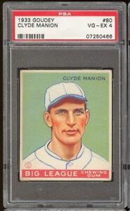 1933 Goudey Clyde Manion #80 Cincinnati Reds PSA 4 SET BREAK CENTERED GREATCOLOR