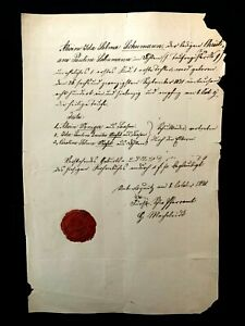 1871 WAX SEALED MANUSCRIPT DOCUMENT - Alwine Ida Selma Schumann