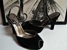 Peeptoe Heels Pinup Pump Rampage Marion Black Suede leather Silver Metallic 7.5
