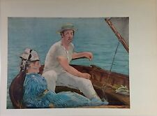 """1957 Vintage Full Color Art Plate """"BOATING"""" by MANET Gorgeous Lithograph"""