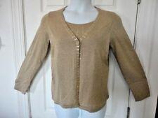 CHRISTOPHER & BANKS sz M Faux 2 Pc Twinset Sweater Cardigan Top GOLD METALLIC
