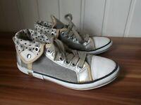 Chaussures BASKETS toile grise et cuir à revers GEOX 35 à lacets