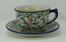 Bunzlauer Keramik Tasse mit Unterteller (F036-P372), U N I K AT - 0,3 Liter