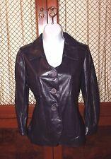 NINA RICCI Black Leather Jacket Blazer Size 36 EUR