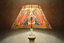 Peacock Floor Lamp Shade Large | Hand Painted Leather Lampshade