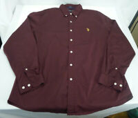 Men's US Polo Assn Button Down Shirt Stretch Long Sleeve Burgundy XL X-Large