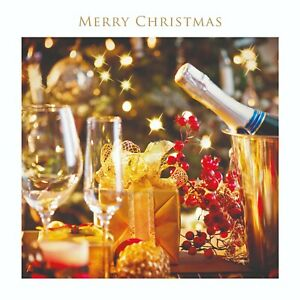 Charity Christmas Cards Champagne and Berries Embossed Foil Finish - Pack 5
