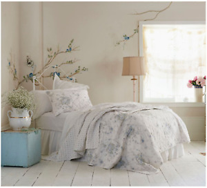 NEW Simply Shabby Chic White & Blue SHADOW ROSE Twin Quilt ~French Cottage~