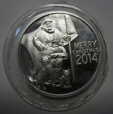 2014 Christmas One 1 Ounce Round .999 Pure Silver PATRIOTIC SANTA WITH USA FLAG