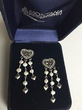 Montana Silversmiths Antique Silver Crystal Heart and Pearl Western Dangling Ear