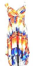 Fab Summer Dress Empire Waist Hawaii M Handkerchief Hem Colorful Lycra Blend