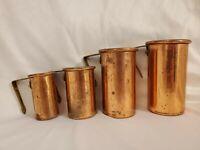 Vintage Daewoo Korean Measuring Cups Copper Nickel Lining Hanging Rack set of 4