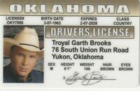Cowboy GARTH BROOKS Collectible card Drivers License fake id card
