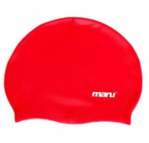 Maru Solid Silicone Swim Caps Red