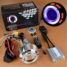 Motorcycle Headlight HID BI-XENON Projector Lens Dual Angel Eyes Devil Eye Kit