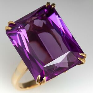 925 Sterling Silver 14 k Yellow Gold Plated Natural Amethyst Cocktail Ring