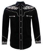Cowboy Shirt Camisa Vaquera Western Wear El General Long Sleeve Black/White