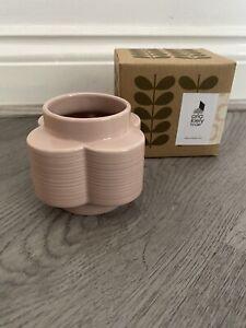 Orla Kiely Ceramic Small Vase Spot Flower Rose Tint - New With Box