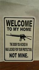 "Welcome Gun Bullet Protection AR 15 7""X10"" Man Cave Polystyrene Sign"