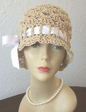 New Handmade Vintage Style Flapper 1920s Cloche Sun Hat Ribbon