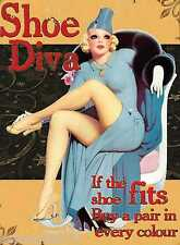 SHOE DIVA Vintage Pin Up Retro Mum Gifts Novelty Gifts Tin Signs