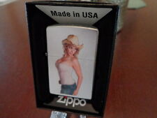 BLONDE PINUP GIRL COWGIRL JEANS COWBOY HAT BUSTY ZIPPO LIGHTER MINT IN BOX