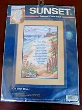 """Sunset Stamped Cross Stitch On This Day 10"""" x 15""""  #13116"""