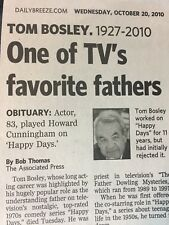 TOM BOSLEY 1927-2010 OBITUARY STAR OF HAPPY DAYS