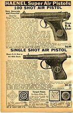 1939 small Print Ad of Haenel 100 Shot Super Air Pistol & JGA Single Shot BB Gun