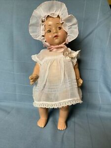 "Vintage Baby Doll Dress & Bonnet Fits 12"" Baby Doll Sheer Organdy Sweet, no Doll"