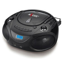 Axess PB2703BK Portable MP3/CD/USB/SD Boombox With AM/FM Stereo Black