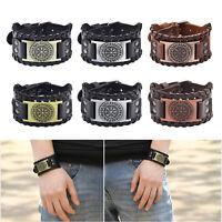 Punk Viking Geflochtenen Seil Herren Armband Leder Vintage Armreif Armband