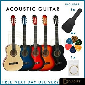 "39"" Beginner Adult Student Full Size Acoustic Guitar Flok Pack Starter Natural"