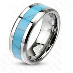 Tungsten Carbide Synthetic Turquoise Stone Inlay Band Ring R387