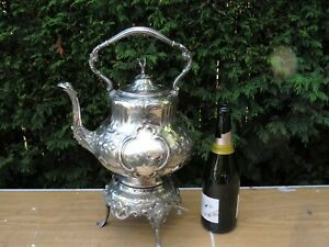 GIANT VICTORIAN  LOUIS PATTERN KETTLE ON STAND SILVER PLATED SPIRIT KETTLE  EPNS