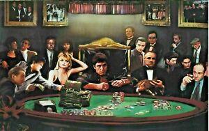 "Gangster Poker Godfather Goodfellas Scarface Sopranos Canvas 20""x30"""