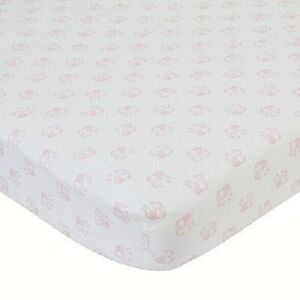 """NoJo Serendipity  Pink Elephant Print 100% Cotton Fitted Crib Sheet 52"""" x 28"""""""