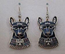 Egyptian Cat Goddess Bast Bastet Black Enamel Feline Animal Earrings #2326